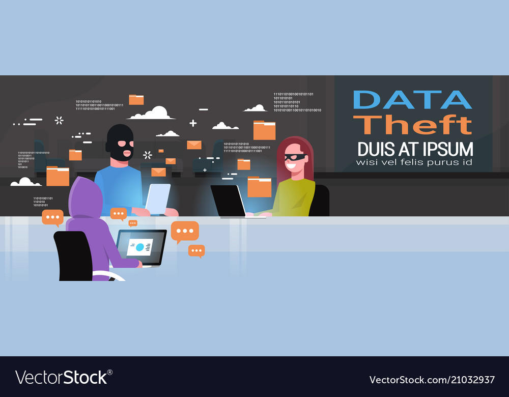 Hackers group wearing black masks sitting at