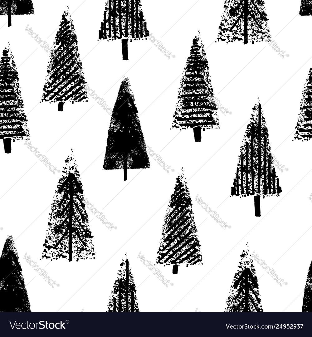 Hand drawn christmas trees seamless white