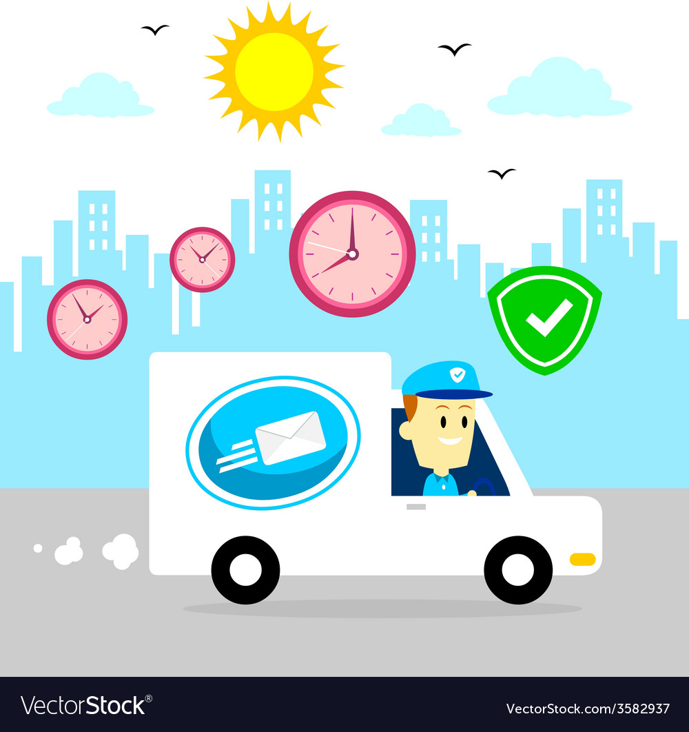 Postman Driving Van Fast and Safe vector image