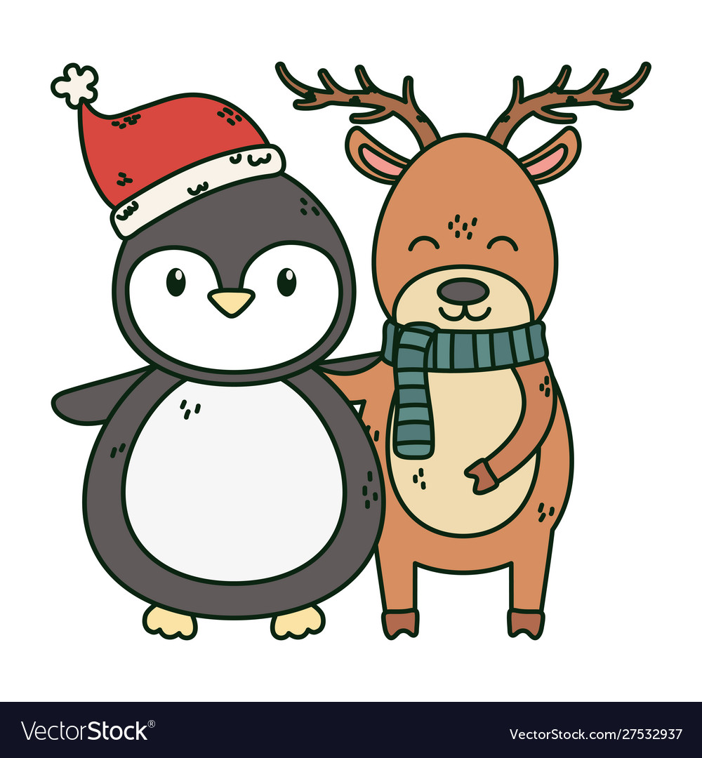 Reindeer and penguin with hat celebration merry