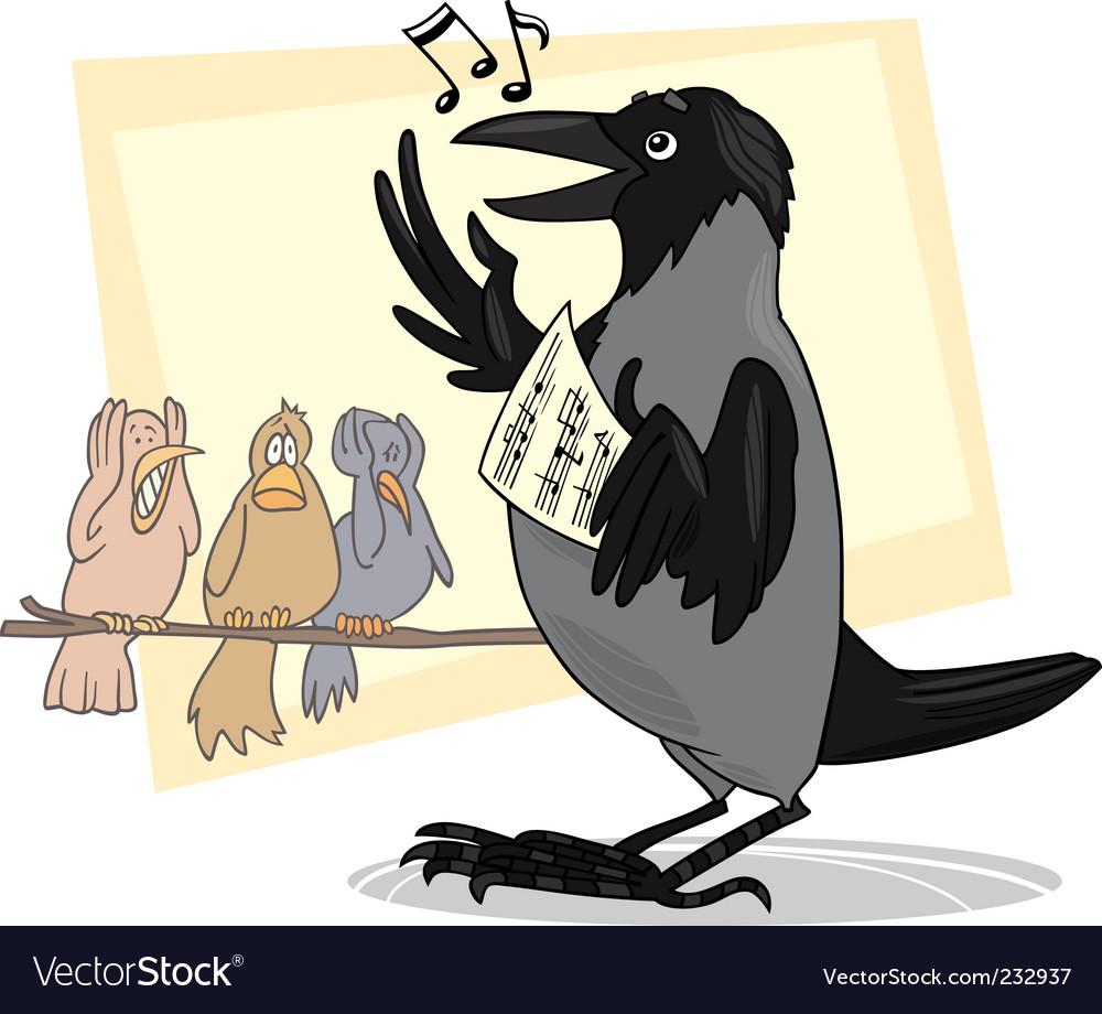 Singing crow vector image