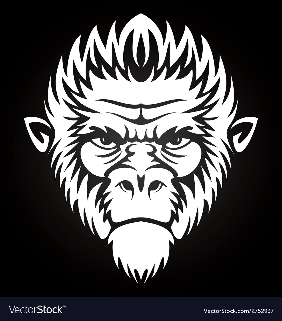 White Monkey Face vector image