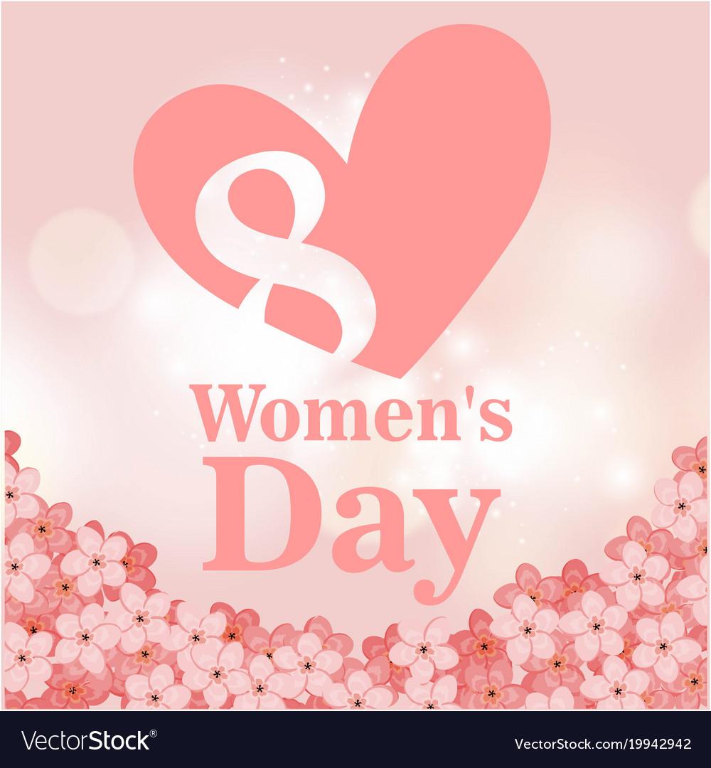 8 Womens Day Pink Heart Flower Pink Background Vec