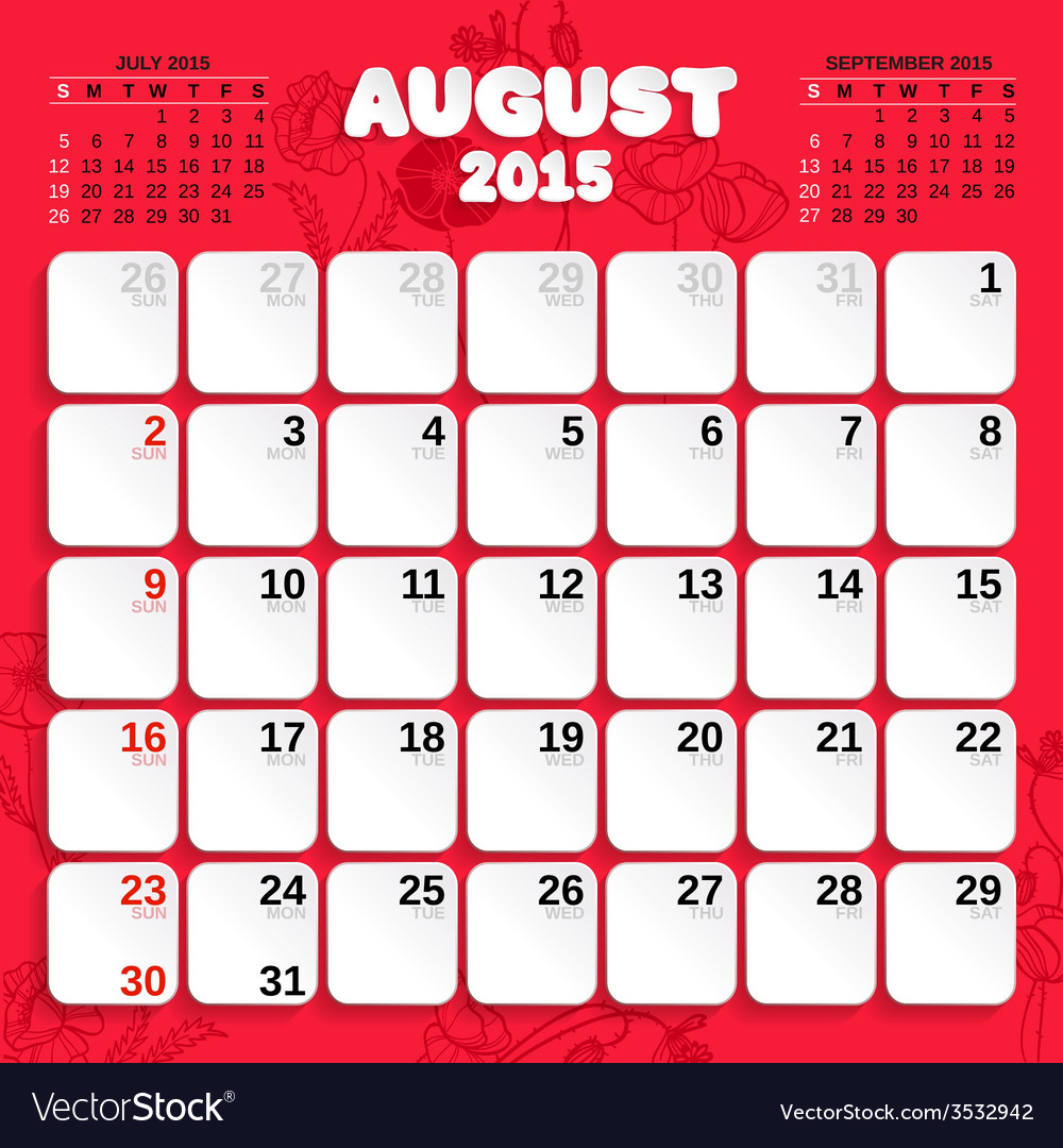 august month calendar 2015 royalty free vector image