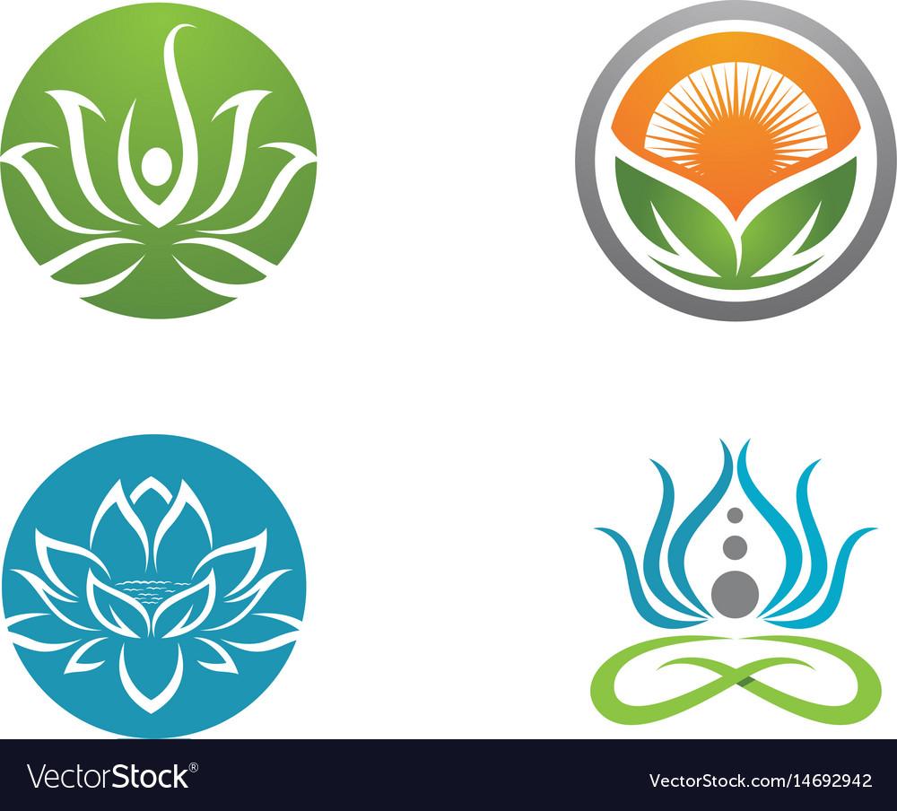 Beauty lotus flowers design logo template