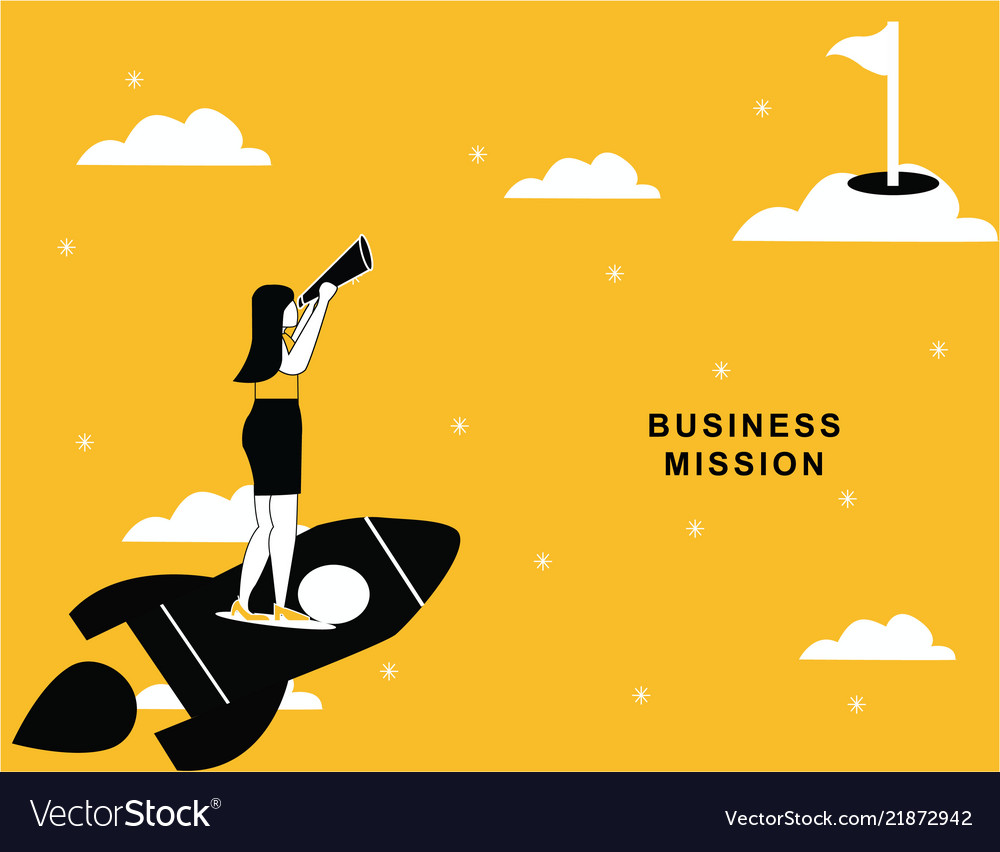 Business woman flying on rocket