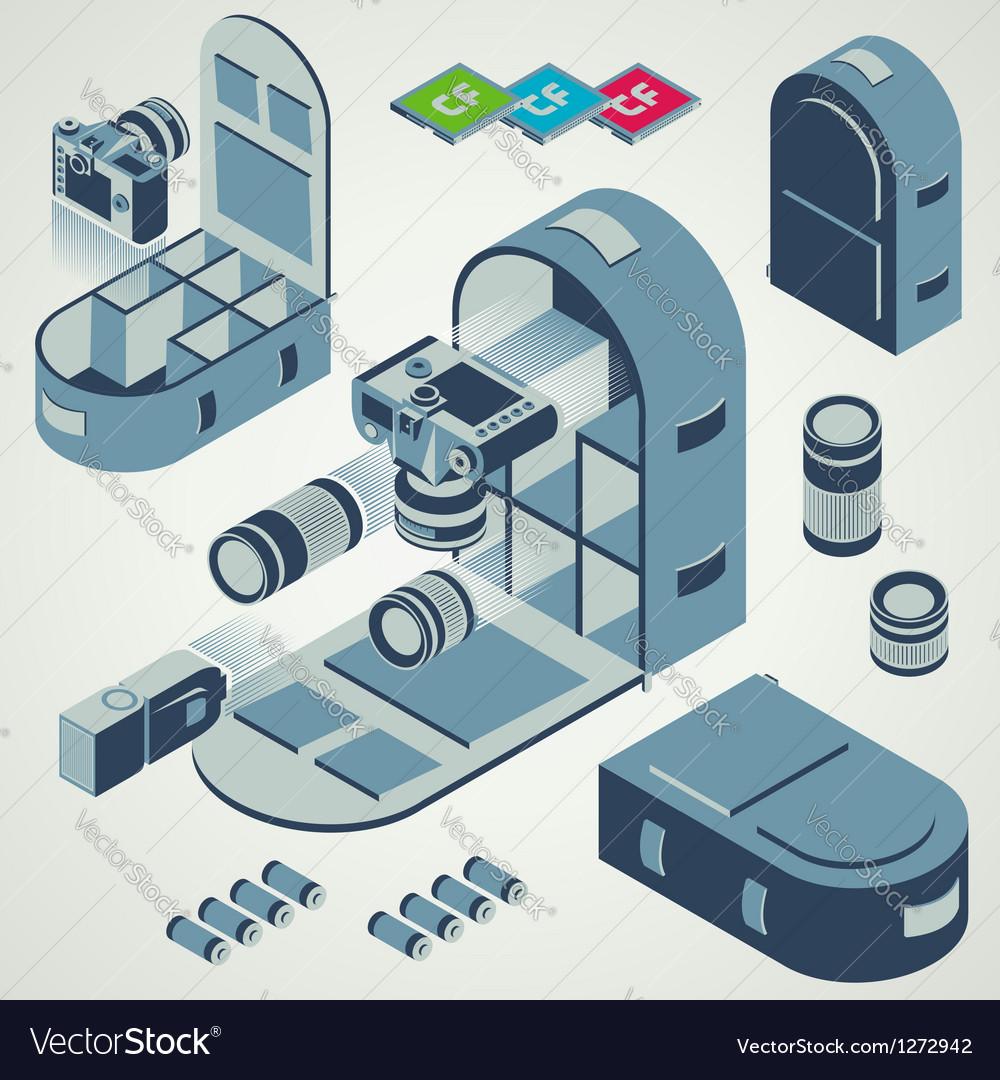 Camera photo backpack travel element set vector image