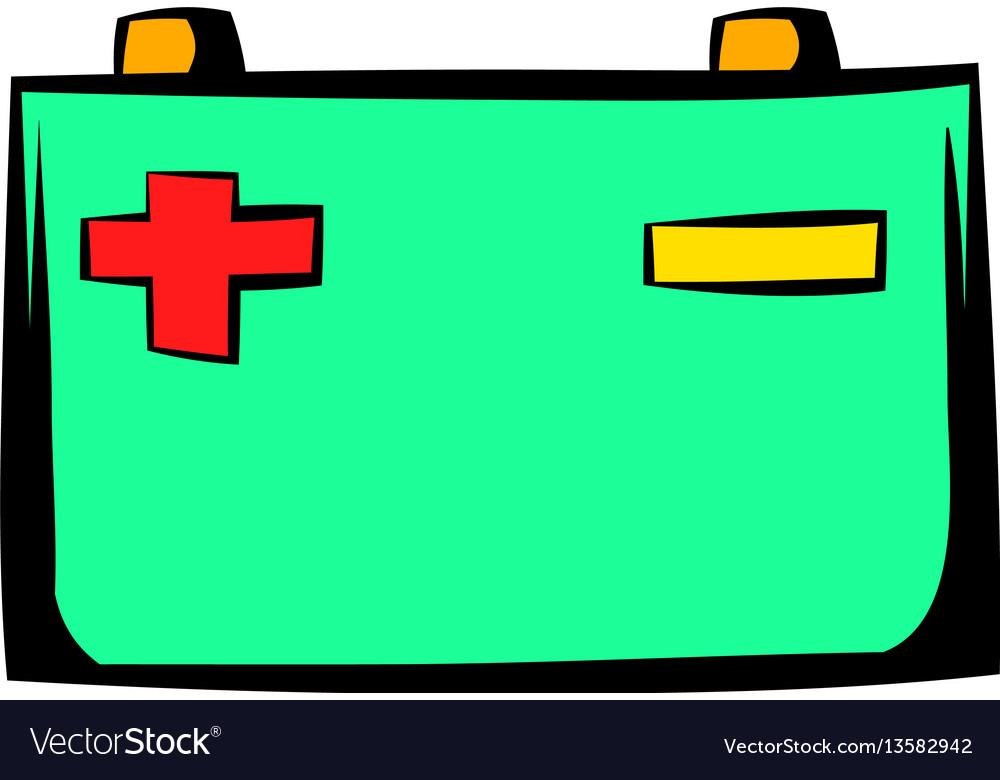 Car battery icon cartoon