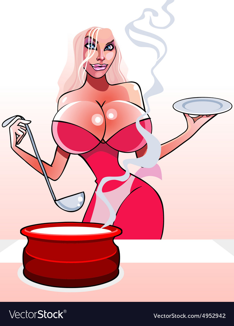 Cartoon sexy woman with a pan and ladle