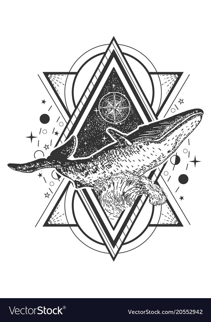Creative Geometric Whale Tattoo Art Style Vector Image