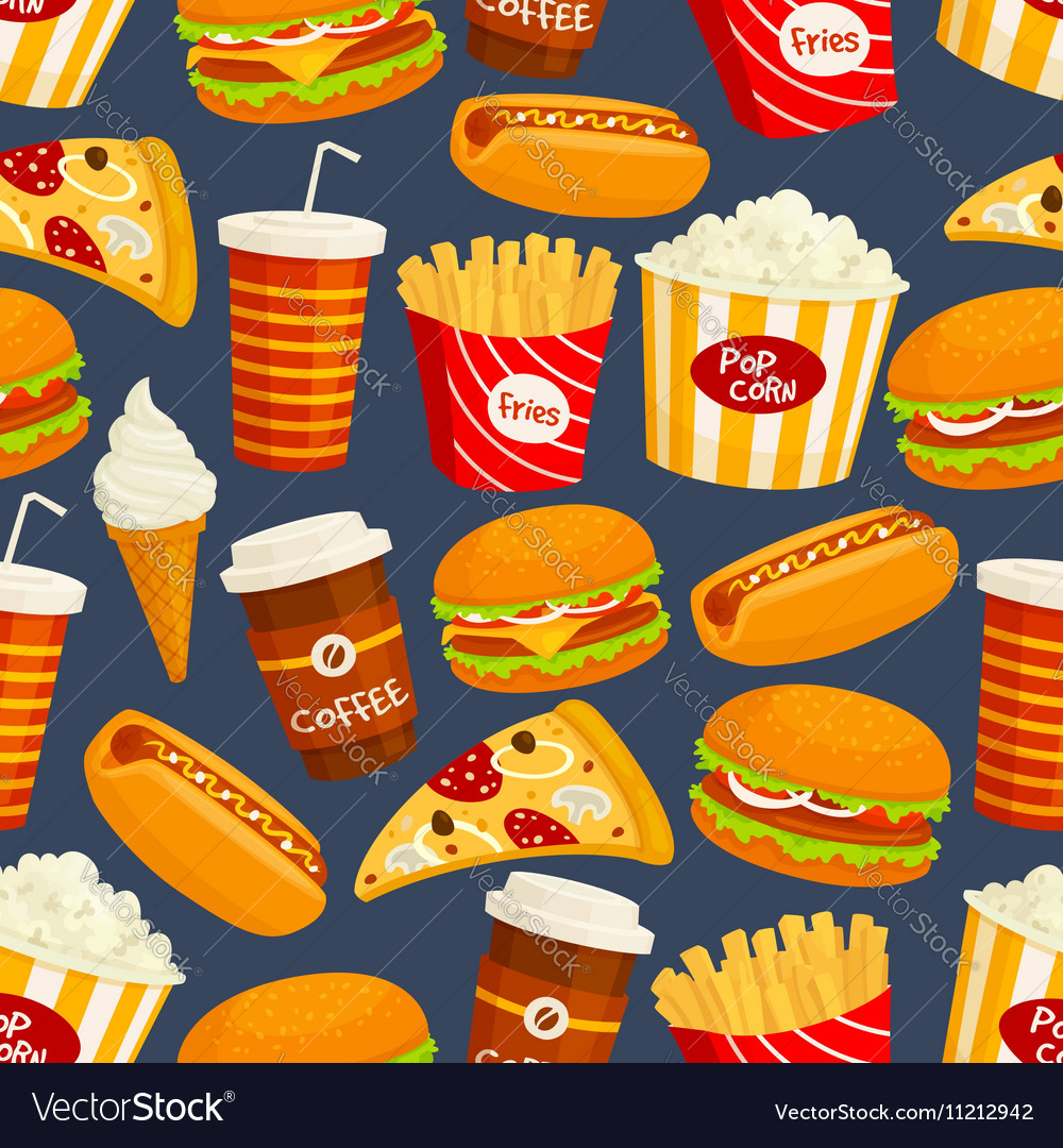 Fast food snacks and drinks seamless pattern