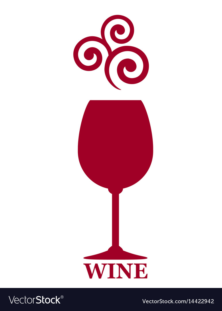 Full red wine goblet decorative icon vector image