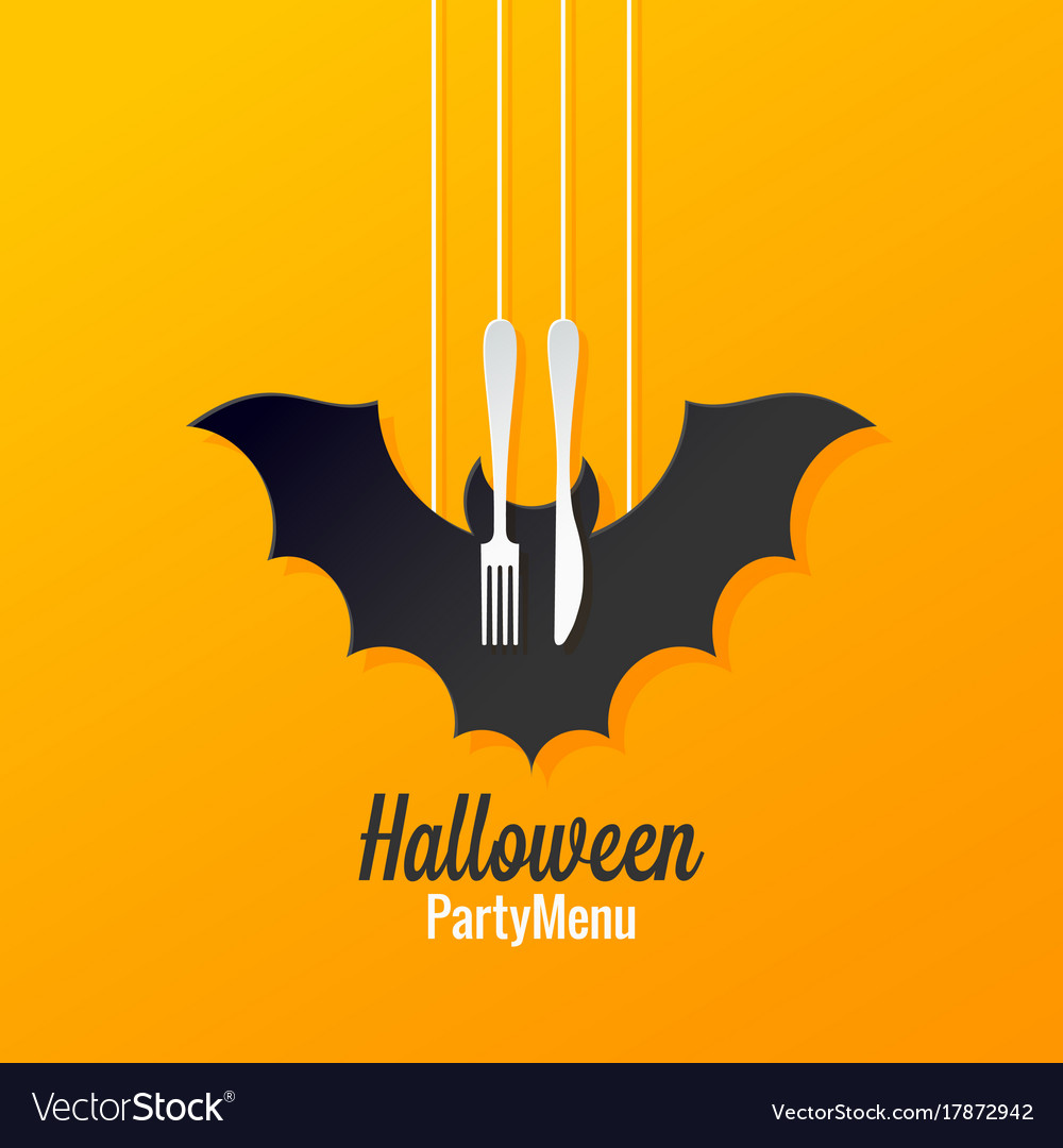 halloween menu logo design background royalty free vector