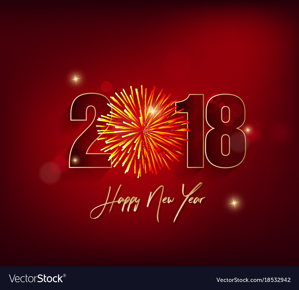 happy new year 2018 greeting card and merry vector image