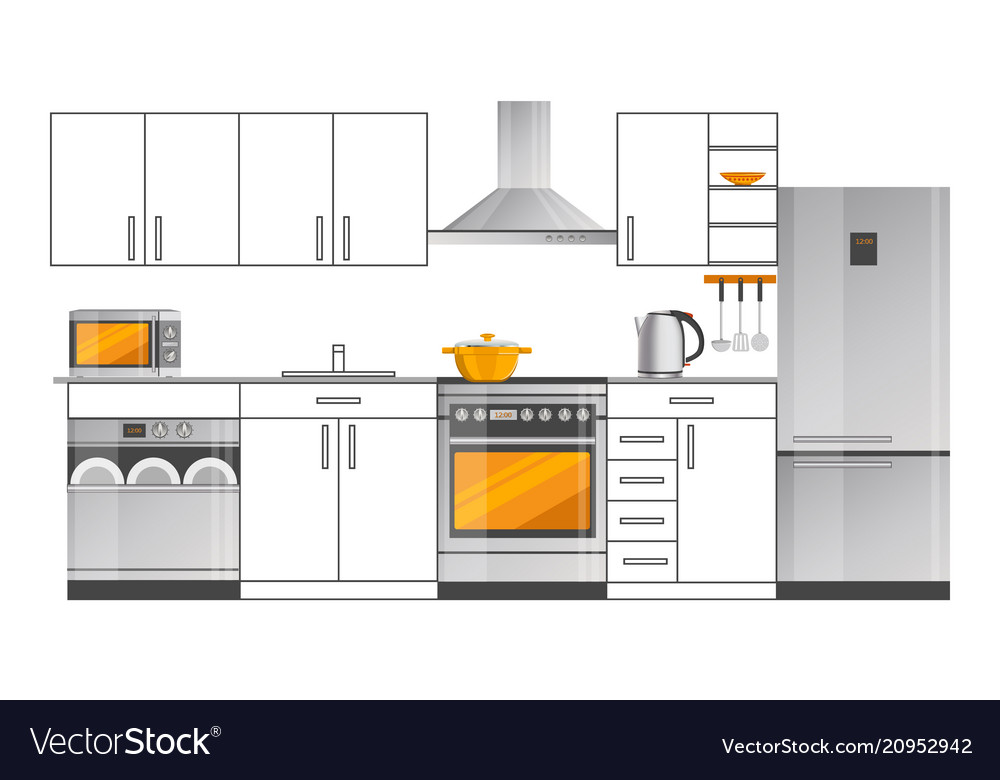 kitchen interior design template with appliances vector image