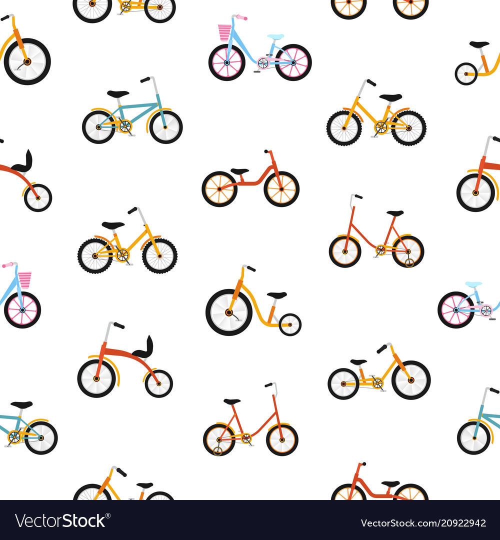 Modern seamless pattern with kids bicycles of