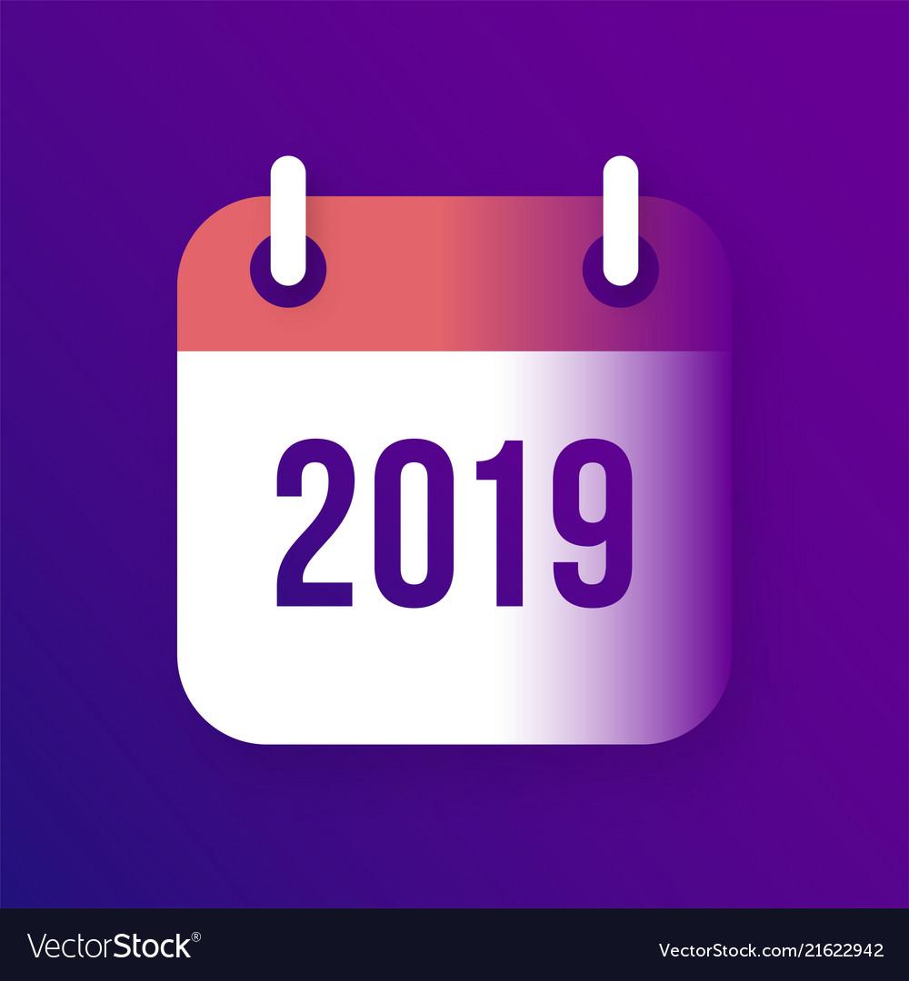 New year 2019 calendar icon