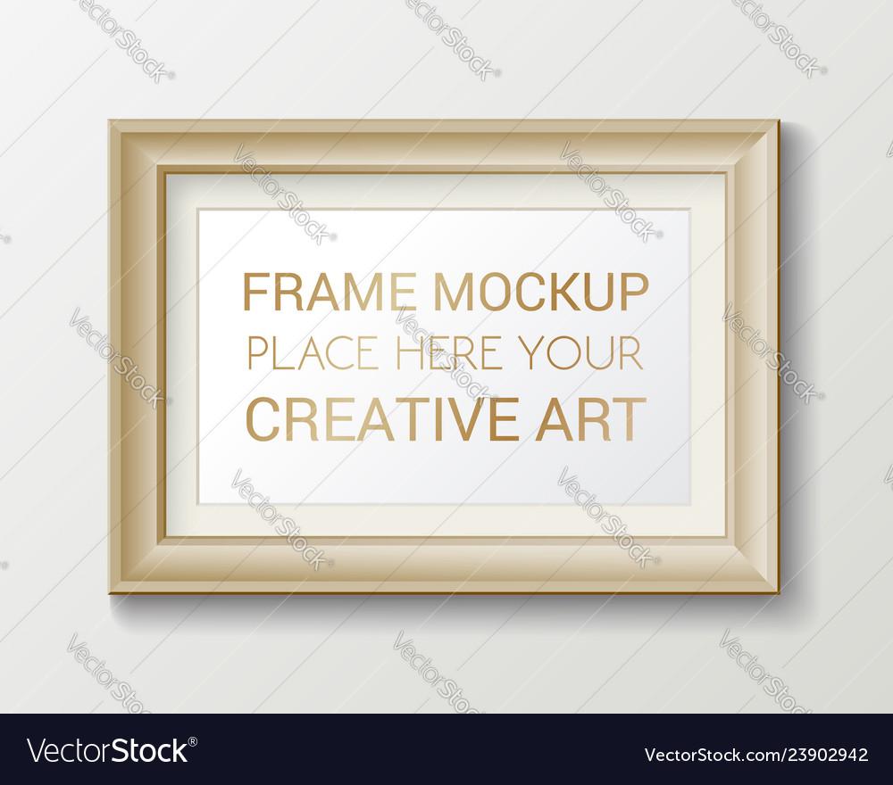 Realistic rectangular gold frame template frame
