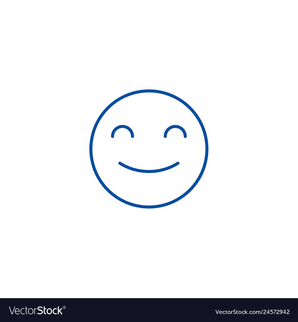 Smiling emoji line icon concept smiling emoji
