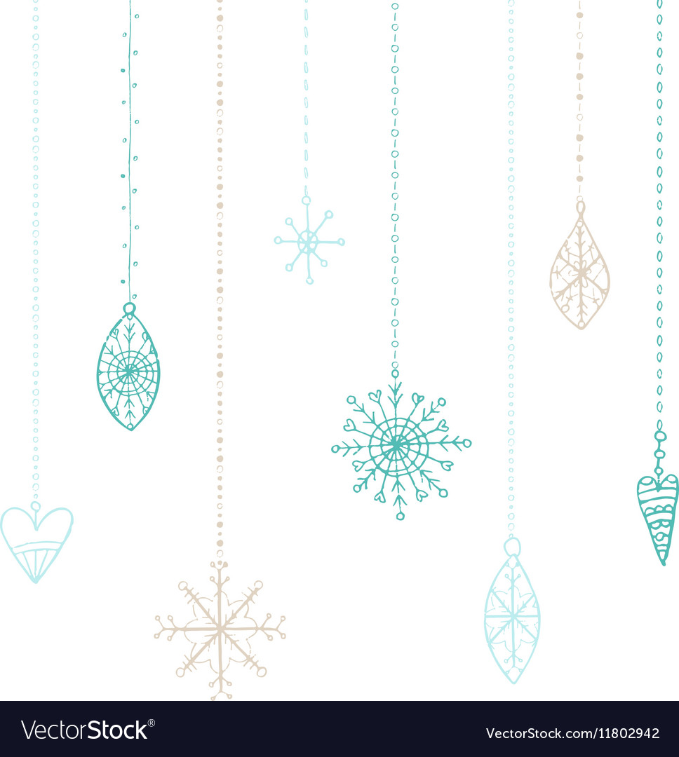 Winter hand drawn toys and snowflakes collection