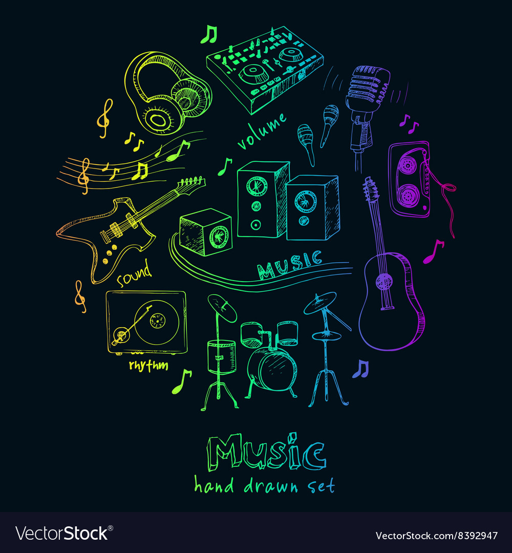 Abstract Music Background with musical instruments