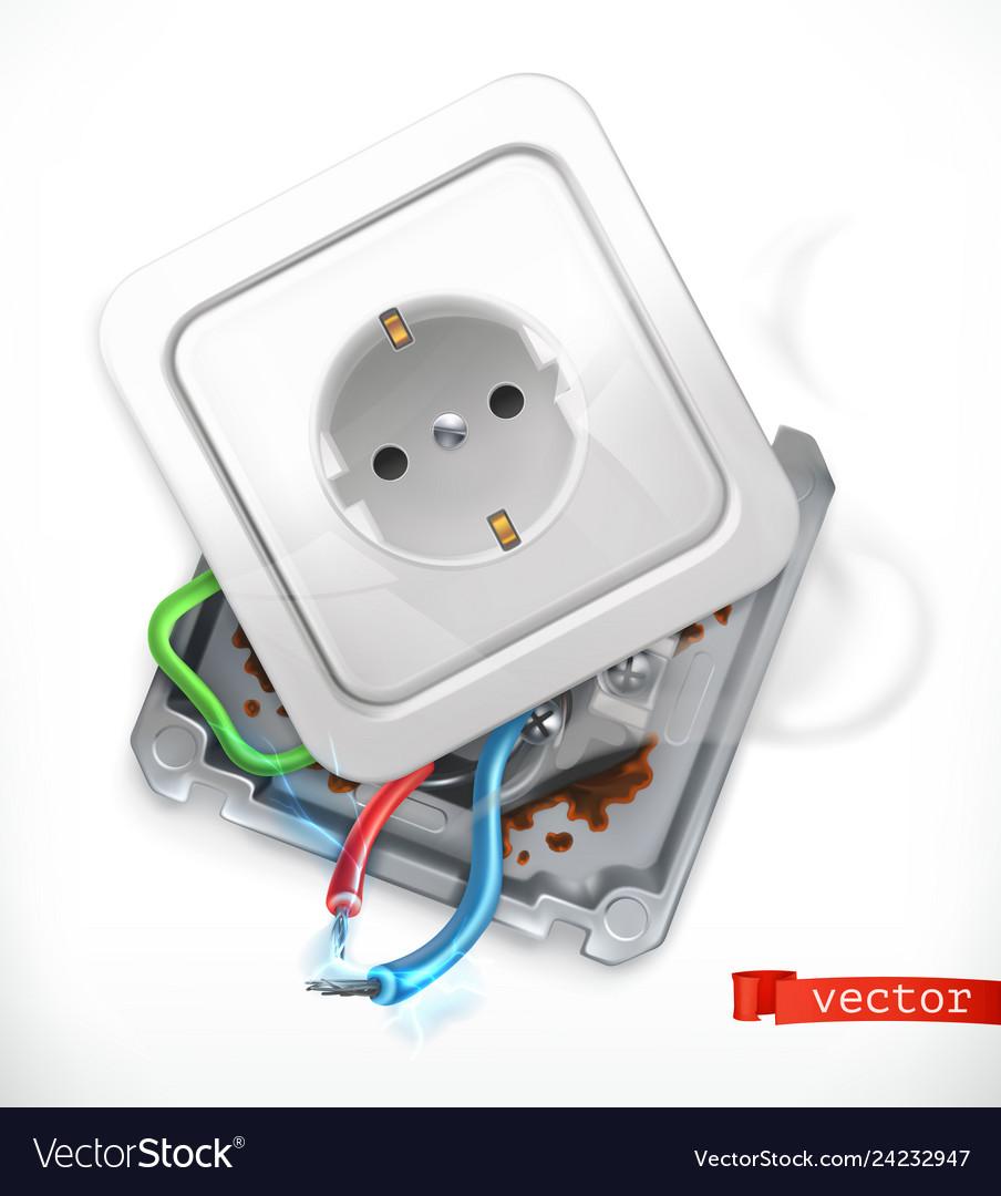 Broken socket error 3d icon