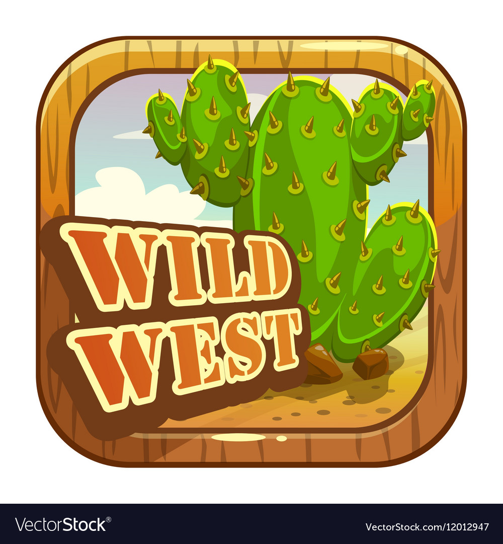 Cartoon app icon with wild west attributes