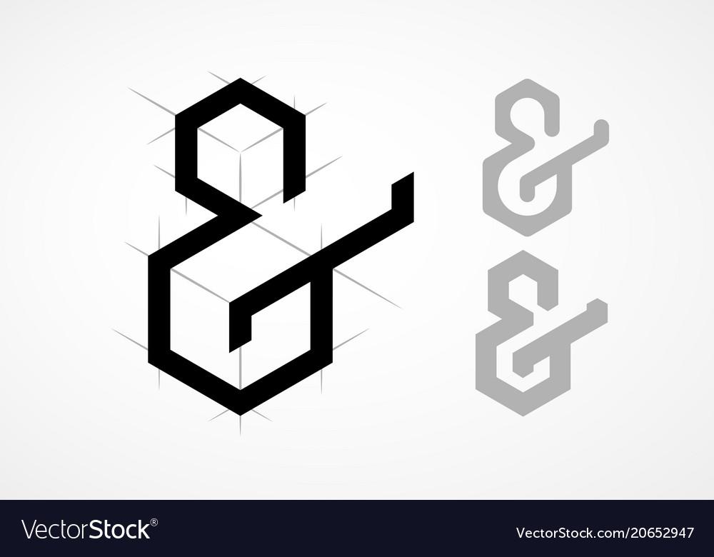 Elegant ampersand on light background vector image