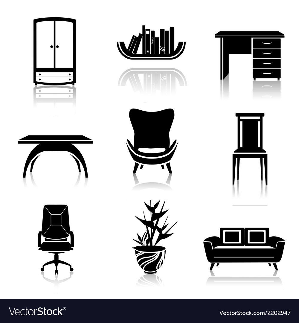 Furniture black icons vector image