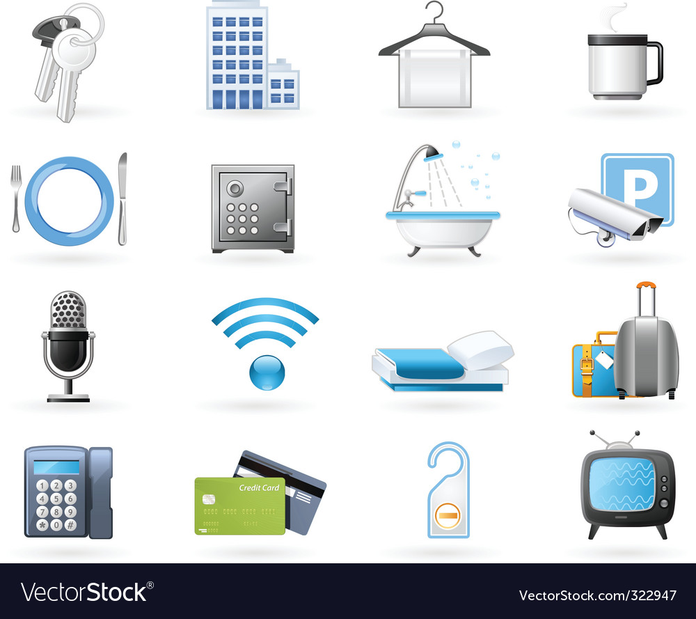 Hotel accommodation amenities vector image