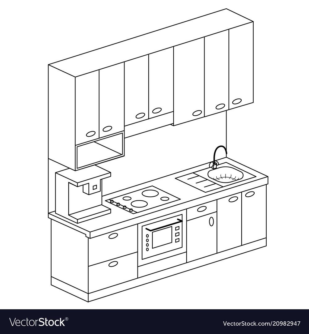Isometric Plan Kitchen Set Design Royalty Free Vector Image