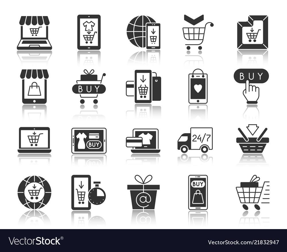 Online shop black silhouette icons set
