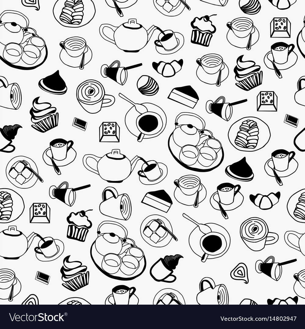 Pattern of collection set with teapot coffee