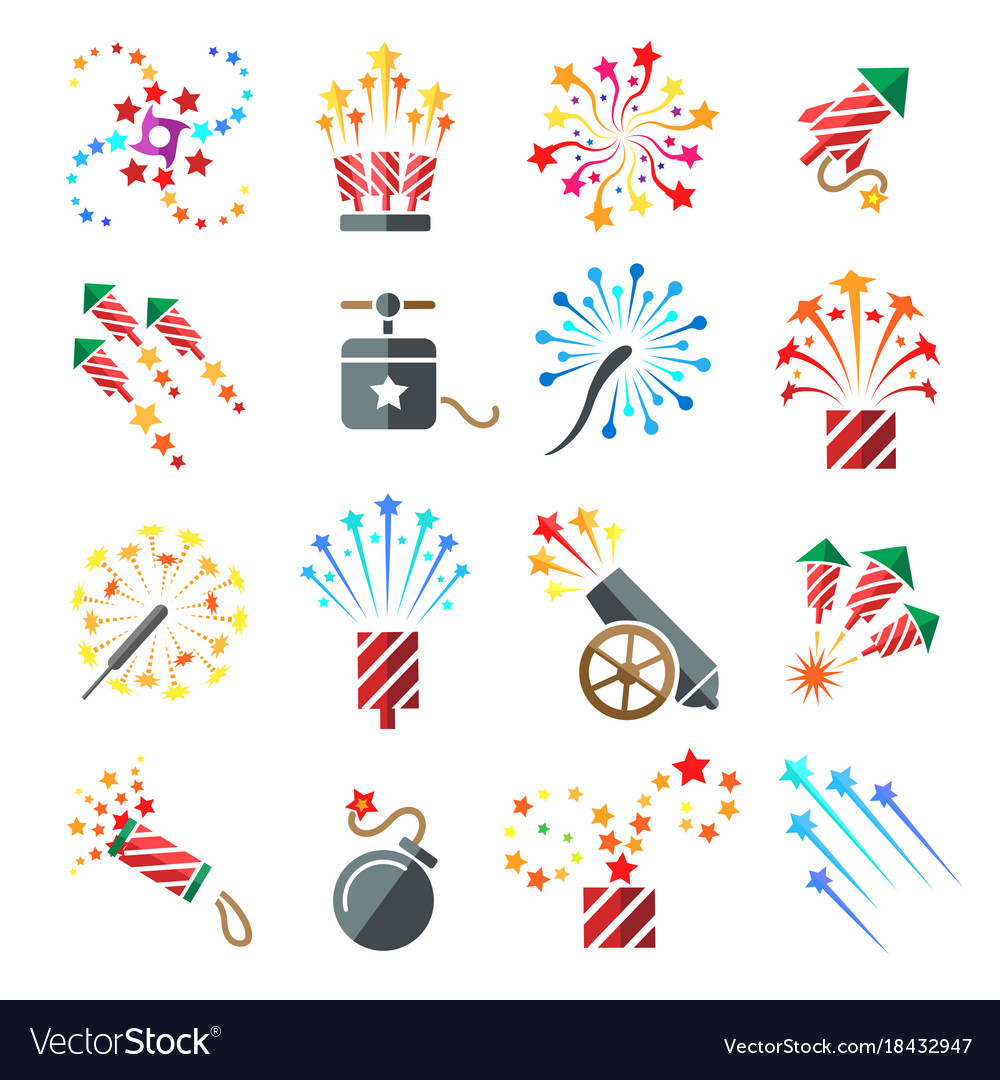 Pyrotechnic colored icons