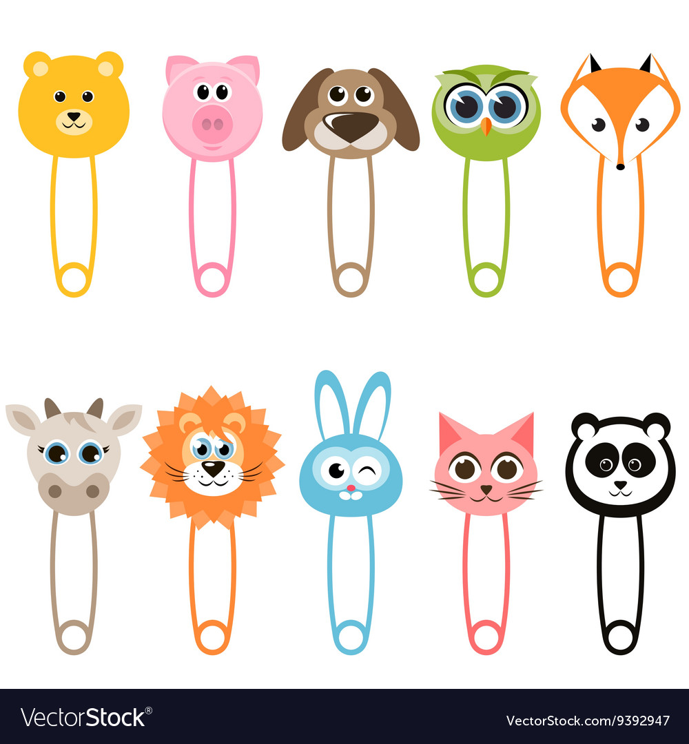 Set of baby animal safety pins