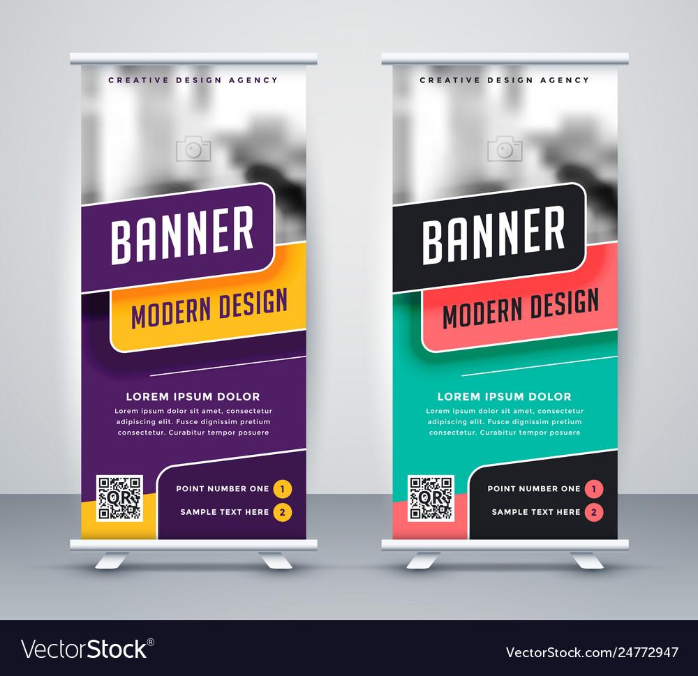 trendy rollup creative banner design template vector image vectorstock