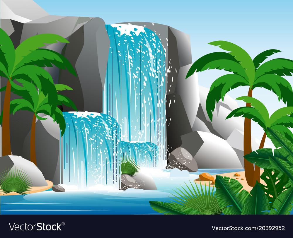 Beautiful waterfall in vector image