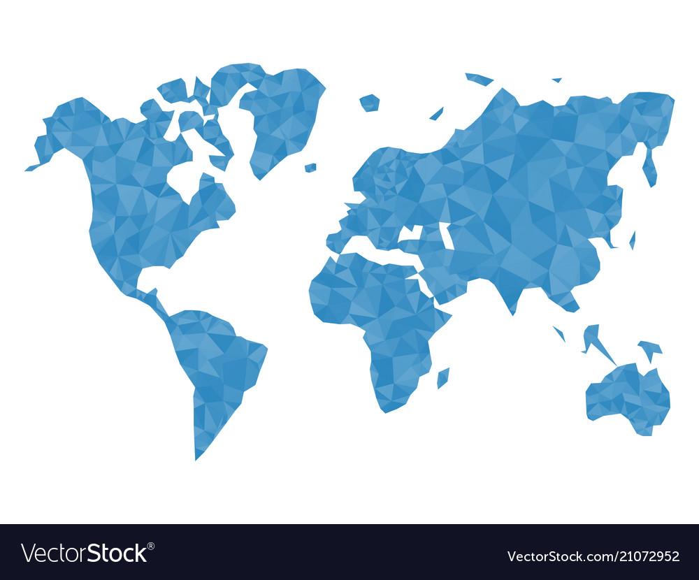 Blue polygonal world map isolated on white backgro