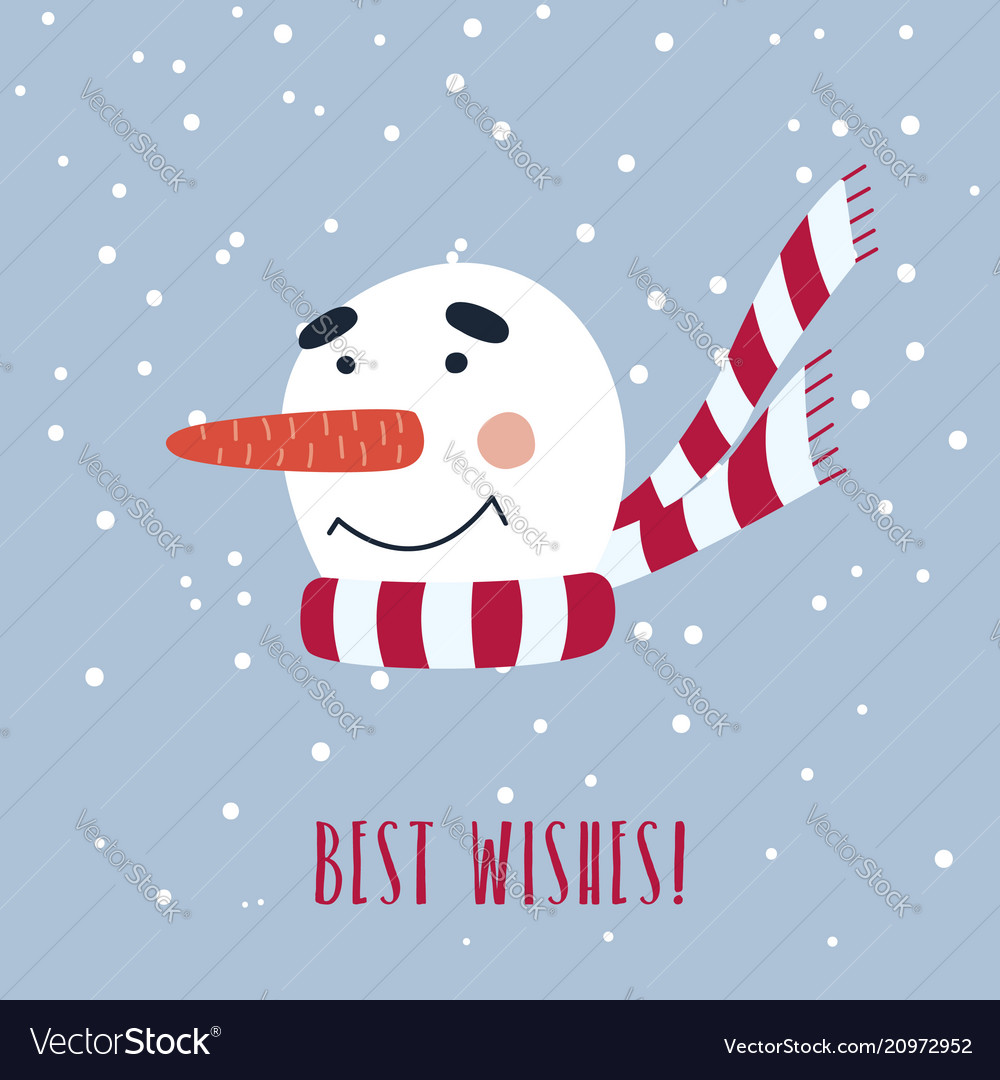 Christmas card with cute snowman in scarf