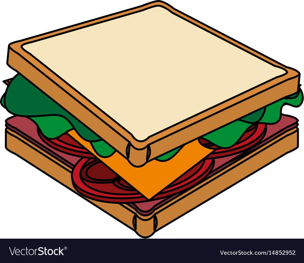 Color image cartoon side view bread sandwich Vector Image