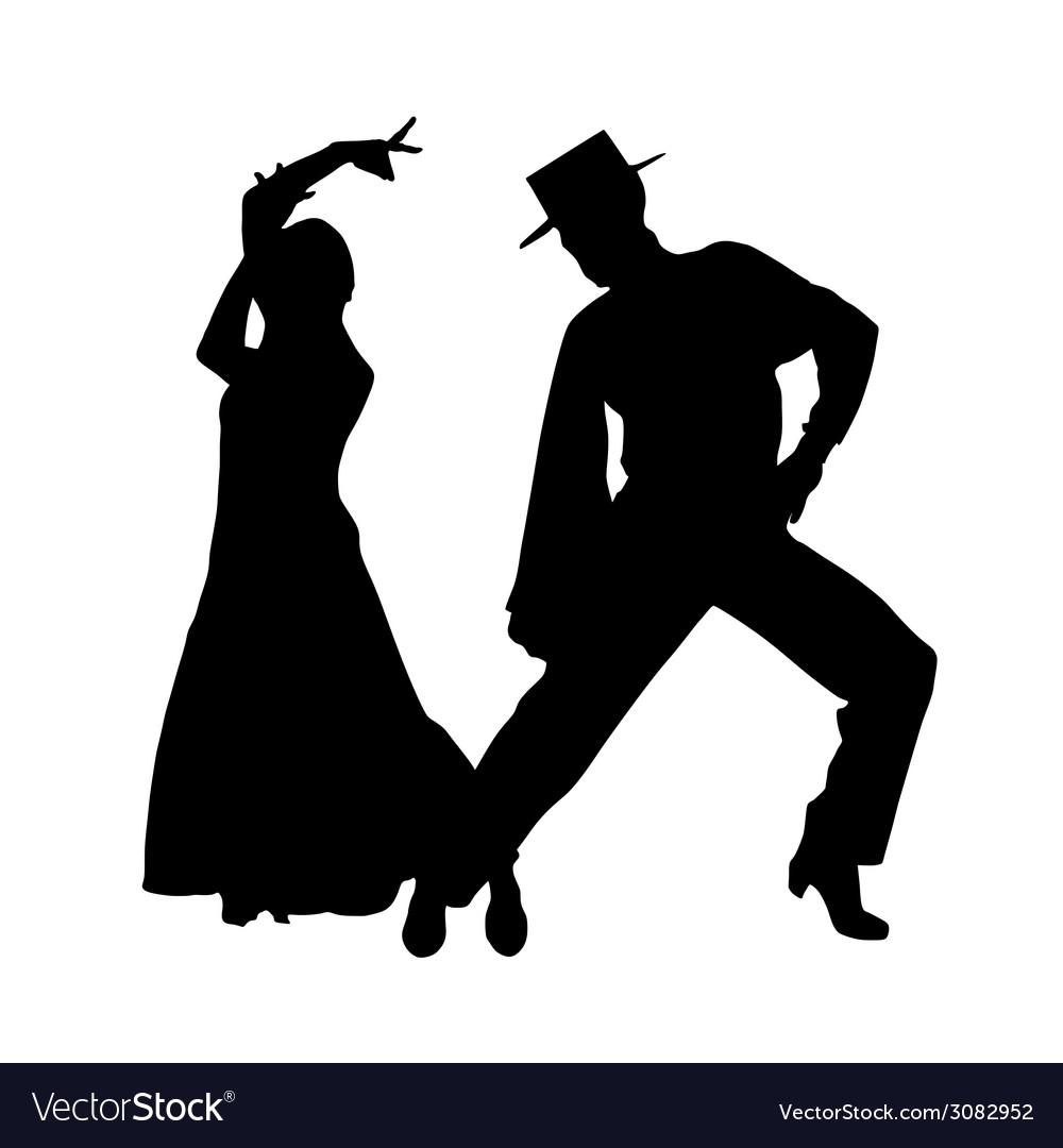 Couple dance silhouette