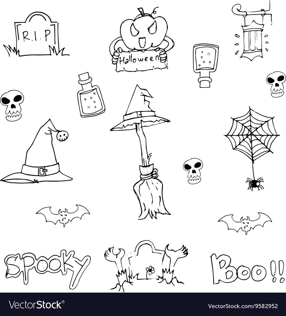 Doodle flat Halloween object