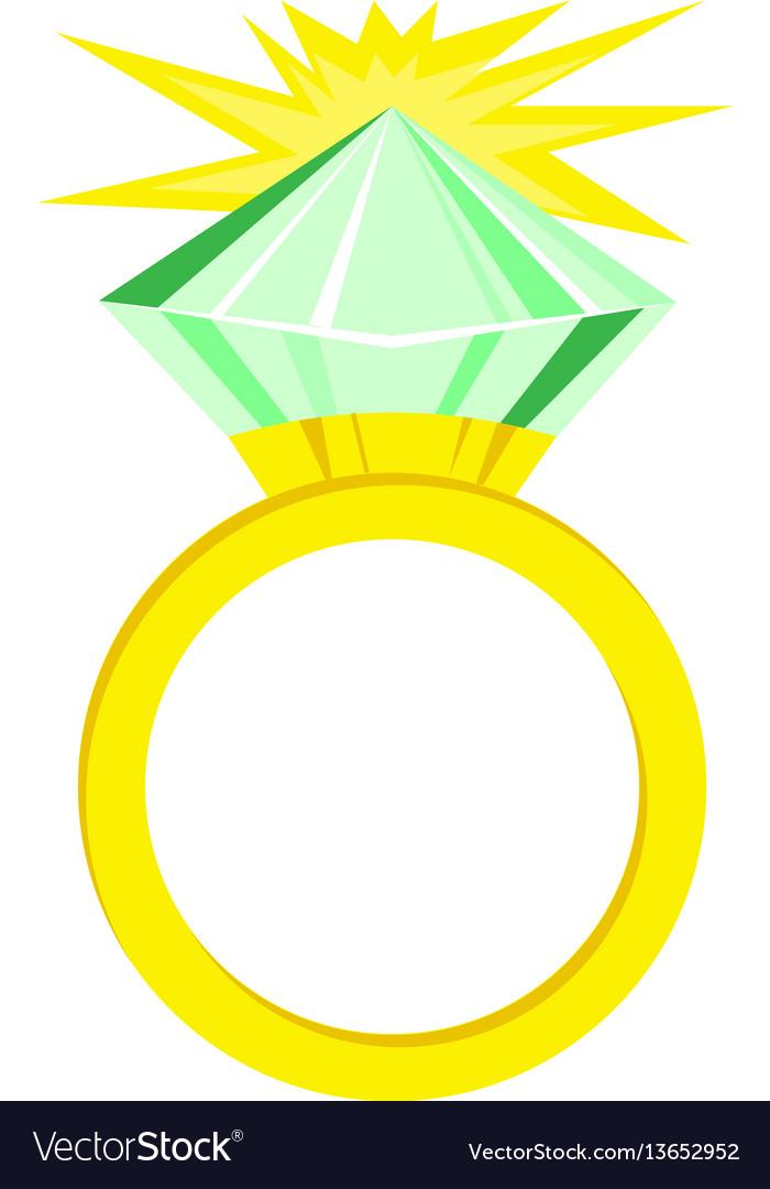 Flat icon green diamond ring