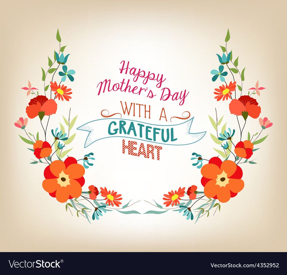 Floral Background Mothers Day Greeting Card With Vector Image