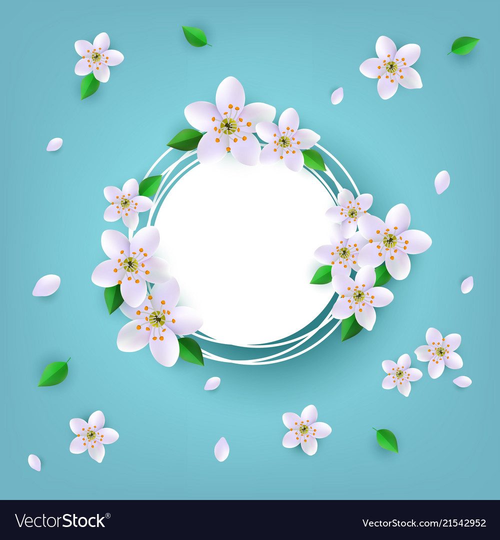 Floral badge with white apple or cherry blossoms