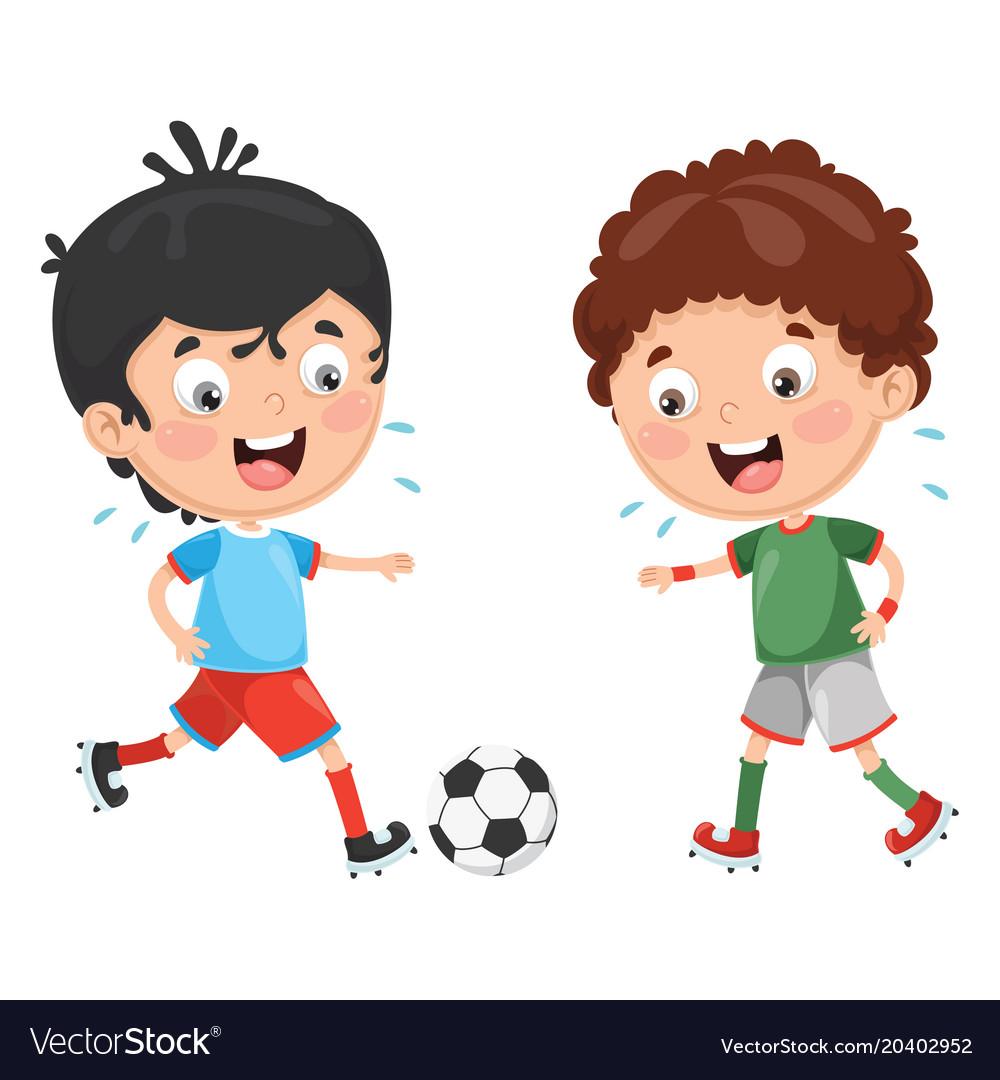 kid playing football royalty free vector image  vectorstock