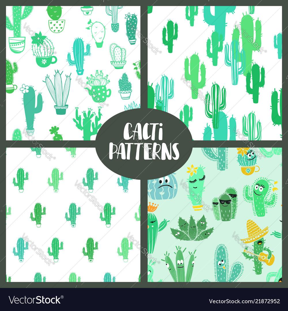 Set of cacti seamless patterns