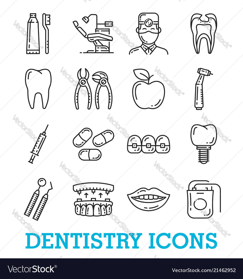 Thin line icons of dentistry medicine