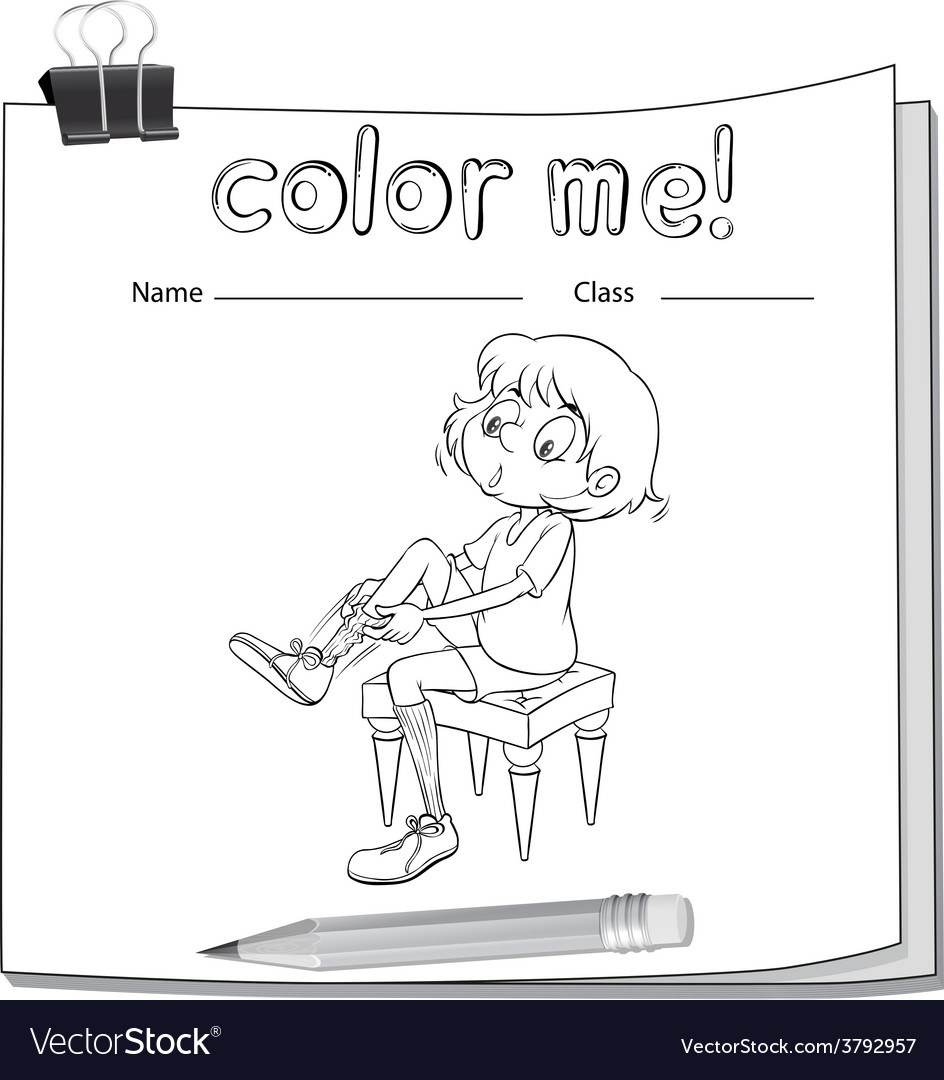 A worksheet showing a girl fixing her shoes