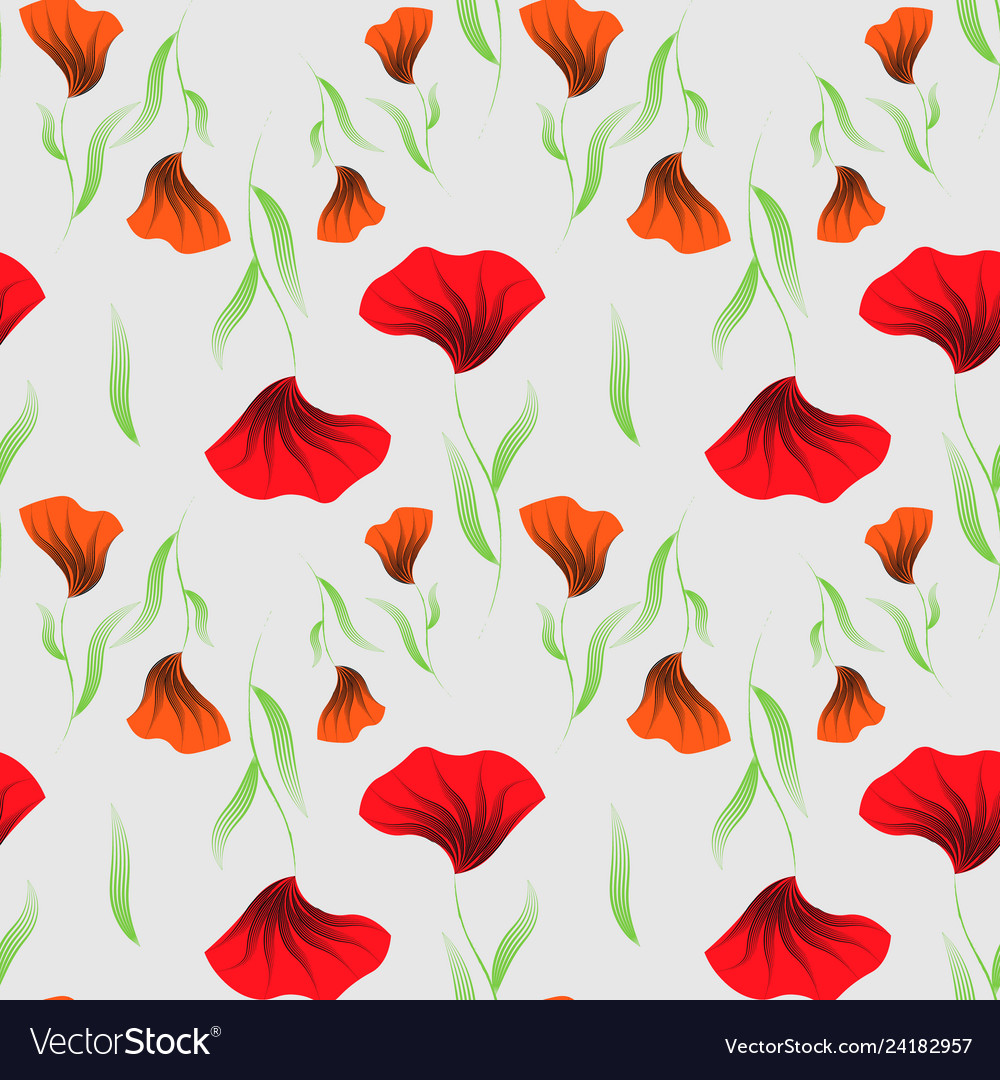 Abstract floral print seamless pattern with poppy